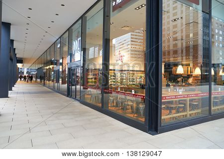CHICAGO, IL - CIRCA MARCH, 2016: exterior view of Pret a Manger. Pret a Manger is a sandwich shop chain based in the United Kingdom