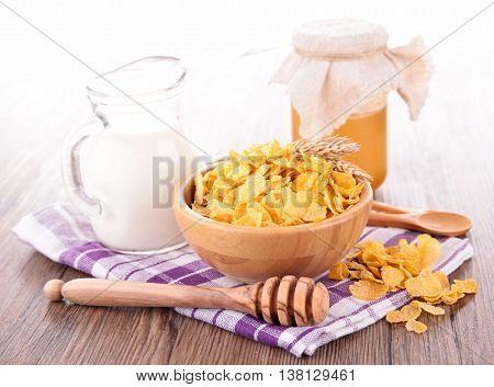 cornflake and milk fork breakfast