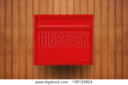 Red mailbox on wooden wall, with copy space