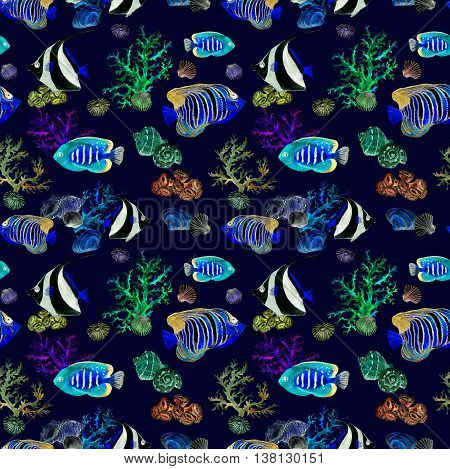 Exotic fishes, sea corals and water baubles. Neon glowing sea pattern. Seamless watercolor