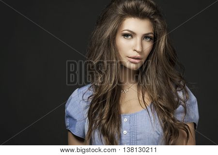 Portrait Of Beautiful Young Woman With Long Straight Brown Hair Isolated On White