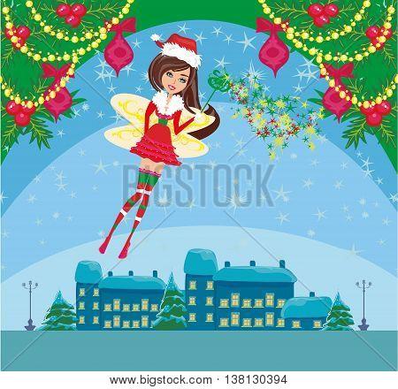 Beautiful Winter fairy on Christmas card , vector illustration