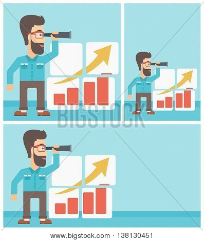 A hipster businessman looking through a spyglass at chart. Man searching the opportunities for business growth. Business growth, vision concept. Business vector flat design illustration in the circle.