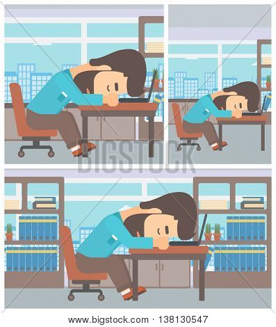 Tired hipster businessman with the beard sleeping on laptop keyboard in the office. Businessman resting at workplace. Vector flat design illustration. Square, horizontal, vertical layouts.