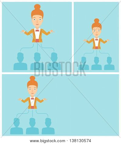 Three employees linked with a business woman. Young business woman choosing employee. Concept of searching for stuff. Vector flat design illustration. Square, horizontal, vertical layouts.