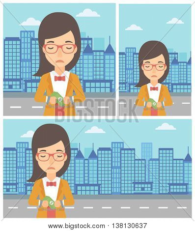 Young business woman in handcuffs with money in hands on the background of modern city. Business woman handcuffed for crime. Vector flat design illustration. Square, horizontal, vertical layouts.