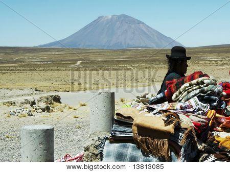 Latin woman in the souvenir bazar