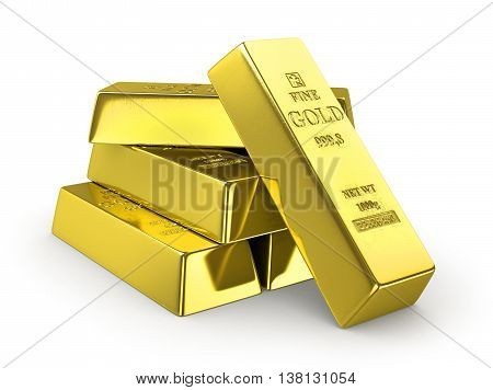 Set of gold bars isolated on white background. 3d illustration.