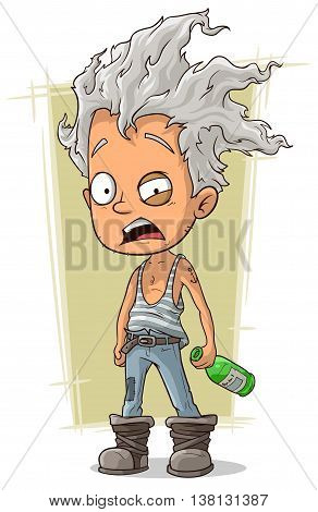 A vector illustration of cartoon crazy old man with gray hair