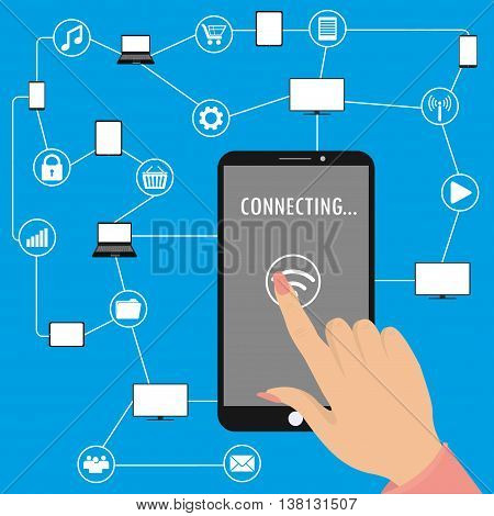 Hand holding smart phone and second hand touches the screenConceptual picture of connection between gadgets icons networks.Flat Vector illustration