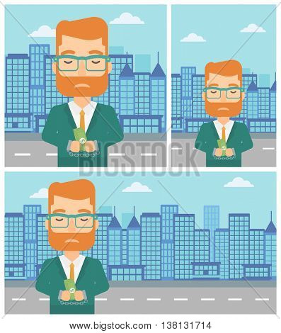 Young hipster businessman in handcuffs with money in hands on the background of modern city. Businessman handcuffed for crime. Vector flat design illustration. Square, horizontal, vertical layouts.