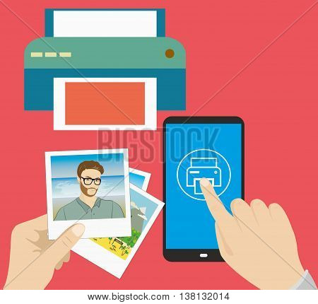 Pictures in hand finger presses on the print icon printer and pictures flat design vector