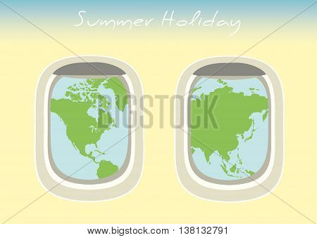 airplane window through which the visible world mapvector