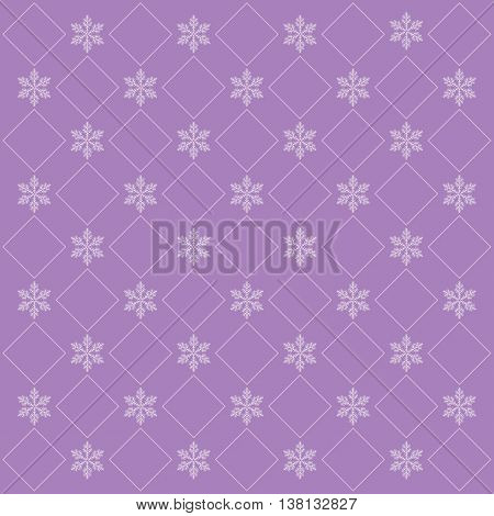 lilac christmas background with snowflakes in retro stile