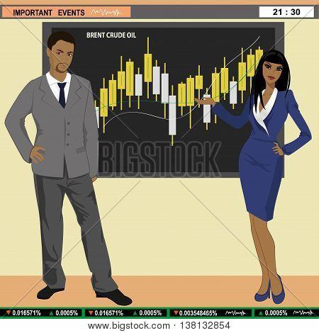 Financial news anchor man and woman header TV vector illustration