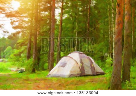 Summer outdoor camping in Scandinavian forest. Wild vacation Hiking in Nordic countries. Traditional camping in camps and tents. Finland Suomi. Photo stylized pictorial representation