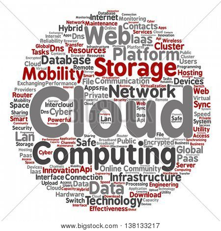 Vector concept conceptual web cloud computing technology abstract round wordcloud isolated on background, metaphor to communication, business, storage, service, internet, virtual, online, mobility