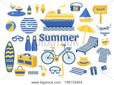Set of vector summer. Set of flat icons summer vacation. Collection of elements of summer vacation travel holiday sports. Vector illustration of summer. Elements for design. Template for design