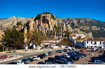 Guadalest Spain- February 2 2016: View to the Guadalest castle on a rock. Guadalest is a small village on the Costa Blanca the most visited village in Spain