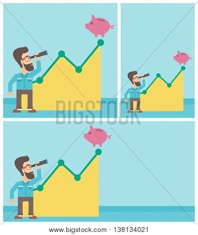 Young hipster businessman with the beard looking through spyglass at a piggy bank standing at the top of growth graph. Vector flat design illustration. Square, horizontal, vertical layouts.