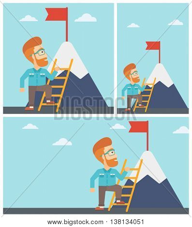 Young hipster businessman standing with ladder near the mountain. Businessman climbing the mountain with a red flag on the top. Vector flat design illustration. Square, horizontal, vertical layouts.