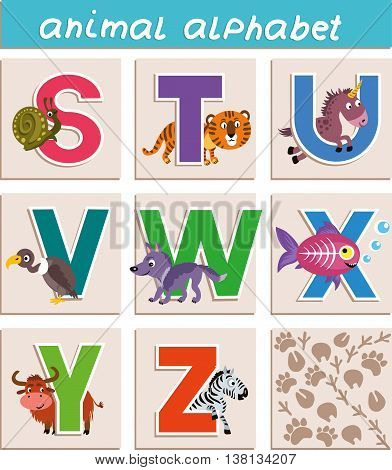 Set of beautiful letters. Vector Animal Alphabet. Letter
