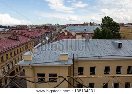 Saint Petersburg, Russia - 10 July : .Roofs of the old houses in bright Sunny weather, the days of military glory of Russia on 10 July, 2016.