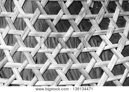 Wooden weave, basketwork twill weave, texture of bamboo background. Fabric at background. Black and white tone.