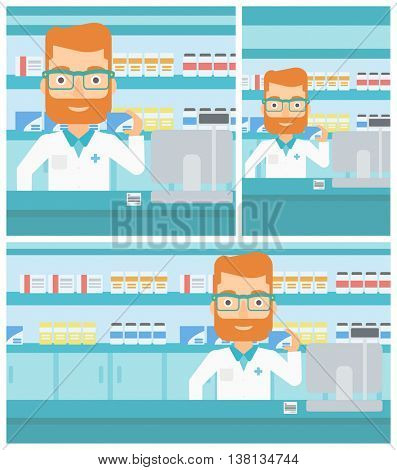 A hipster pharmacist with the beard standing at the counter and showing a box of pills in the pharmacy. Vector flat design Illustration. Square, horizontal, vertical layouts.