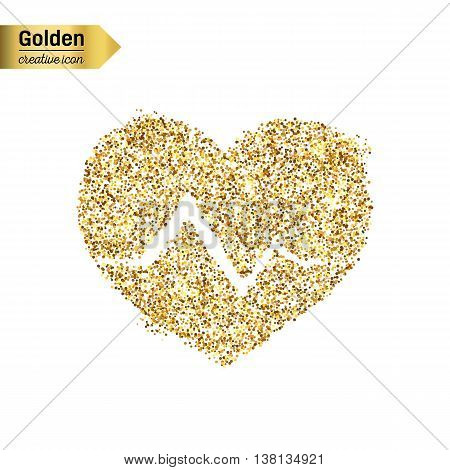 Gold glitter vector icon of cardiogram isolated on background. Art creative concept illustration for web, glow light confetti, bright sequins, sparkle tinsel, abstract bling, shimmer dust, foil.