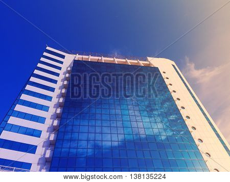 Odessa, Ukraine July 6, 2016: Bottom View Of Modern High Rise Building In The Port In The Sunset At