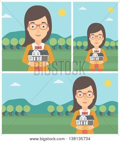 Young woman holding house model in hands on the background of mountains. Real estate agent with house model in hands. Vector flat design Illustration. Square, horizontal, vertical layouts.