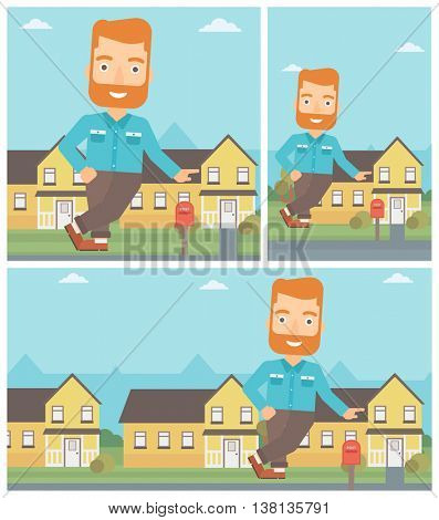 A hipster real estate agent with the beard standing near the house and offering it. Real estate agent leaning on the house. Vector flat design Illustration. Square, horizontal, vertical layouts.