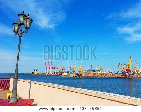 Odessa, Ukraine - July 6, 2016: Container Cranes In Cargo Port Terminal, Cargo Cranes Without Job In