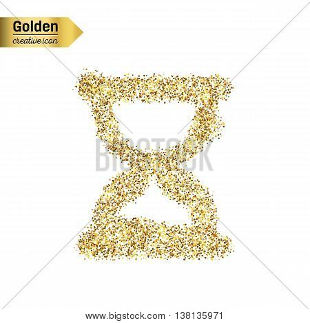Gold glitter vector icon of hourglass isolated on background. Art creative concept illustration for web, glow light confetti, bright sequins, sparkle tinsel, abstract bling, shimmer dust, foil.