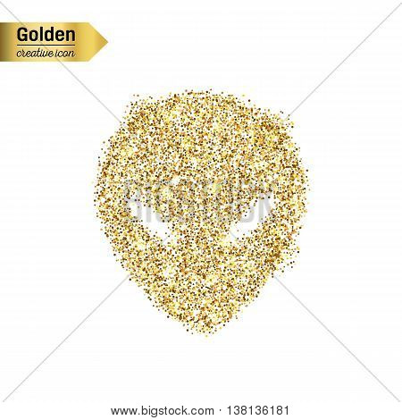 Gold glitter vector icon of alien isolated on background. Art creative concept illustration for web, glow light confetti, bright sequins, sparkle tinsel, abstract bling, shimmer dust, foil.
