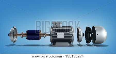 Electric Motor In Disassembled State 3D Render On A Gradient Background