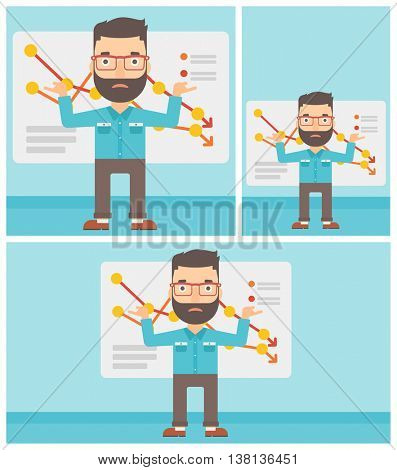 Stressed hipster businessman standing on the background of a board with decreasing chart. Concept of business bankruptcy. Vector flat design illustration. Square, horizontal, vertical layouts.