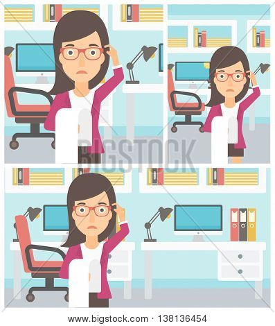 Young worried business woman standing in the office and holding a long bill. Concept of business bankruptcy. Vector flat design illustration. Square, horizontal, vertical layouts.