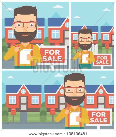 Hipster real estate agent with beard signing contract. Real estate agent standing in front of the house with placard for sale. Vector flat design Illustration. Square, horizontal, vertical layouts.