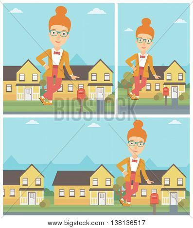 Female real estate agent standing near the house and offering it. Young real estate agent leaning on the house. Vector flat design Illustration. Square, horizontal, vertical layouts.