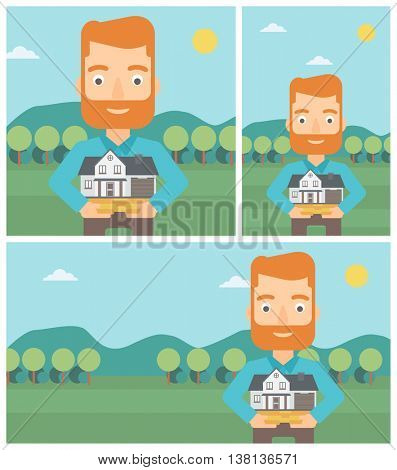 A hipster man with the beard holding house model in hands on the background of mountains. Real estate agent with house model. Vector flat design Illustration. Square, horizontal, vertical layouts.