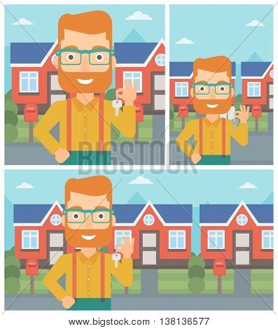 Young hipster male real estate agent holding key. Man with keys standing in front of the house. Happy new owner of a house. Vector flat design Illustration. Square, horizontal, vertical layouts.