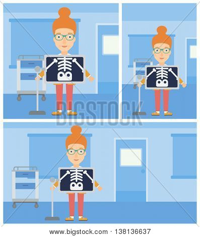 Young woman with x ray screen showing her skeleton in examination room. Vector flat design Illustration. Square, horizontal, vertical layouts.