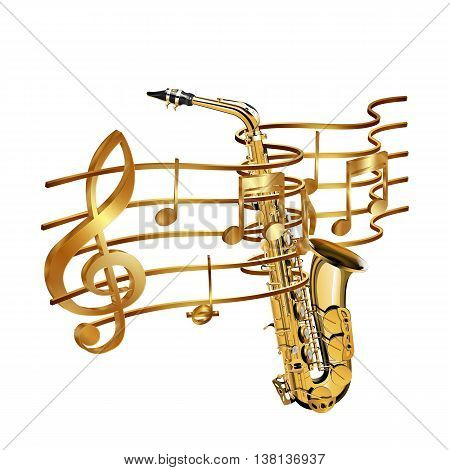 Vector illustration of gold musical notes volume and treble clef on the stave and saxophone. Isolated objects on a white background can be used with any image or text.