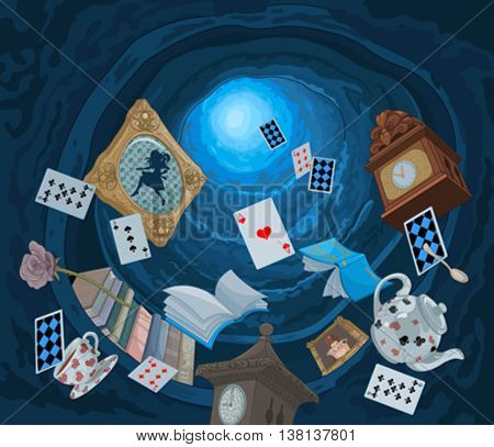 Abstract background of objects falling down in rabbit hole