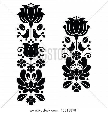 Kalocsai black embroidery - Hungarian floral folk art long patterns