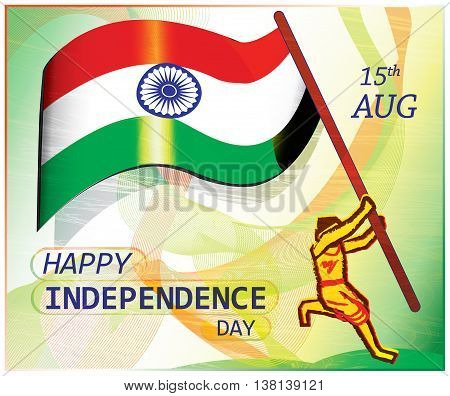 Poster on Indian independence day.A patriot jumps to hoist the flag. Colorful artistic presentation of patriotism.