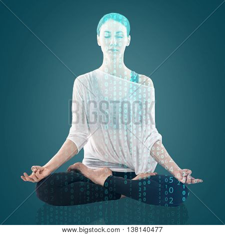 Double exposure of young woman practicing yoga in the lotus position and digital coding over blue background