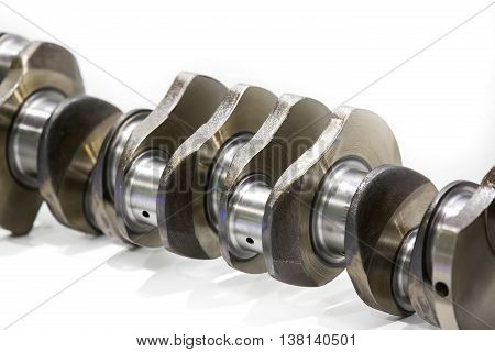 Car crankshaft on a white background Spare